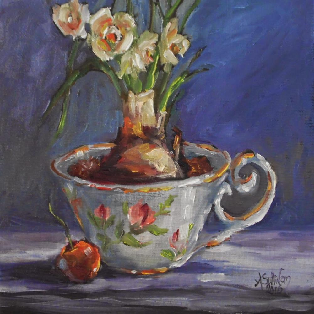 """Beauty in A Cup still life painting by Alabama Artist Angela Sullivan"" original fine art by Angela Sullivan"