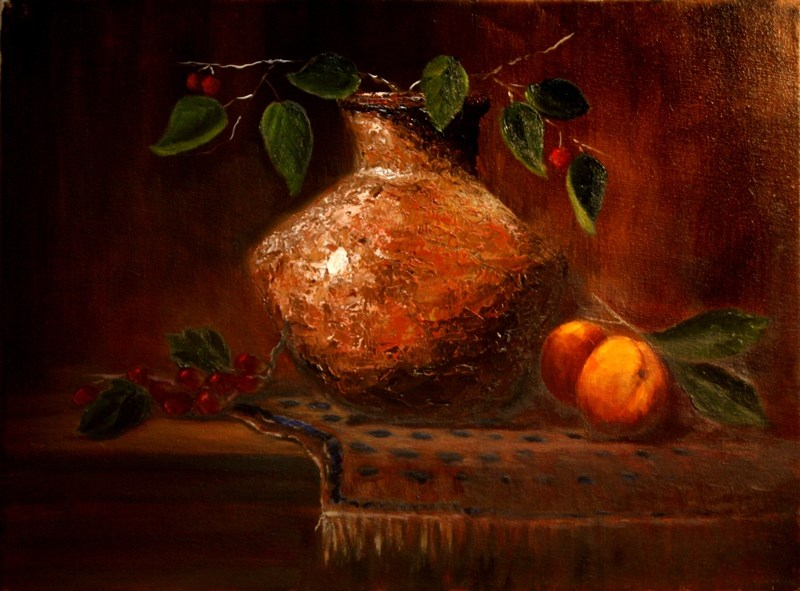 """""""Clay Vase and Peaches"""" original fine art by Mary Datum"""