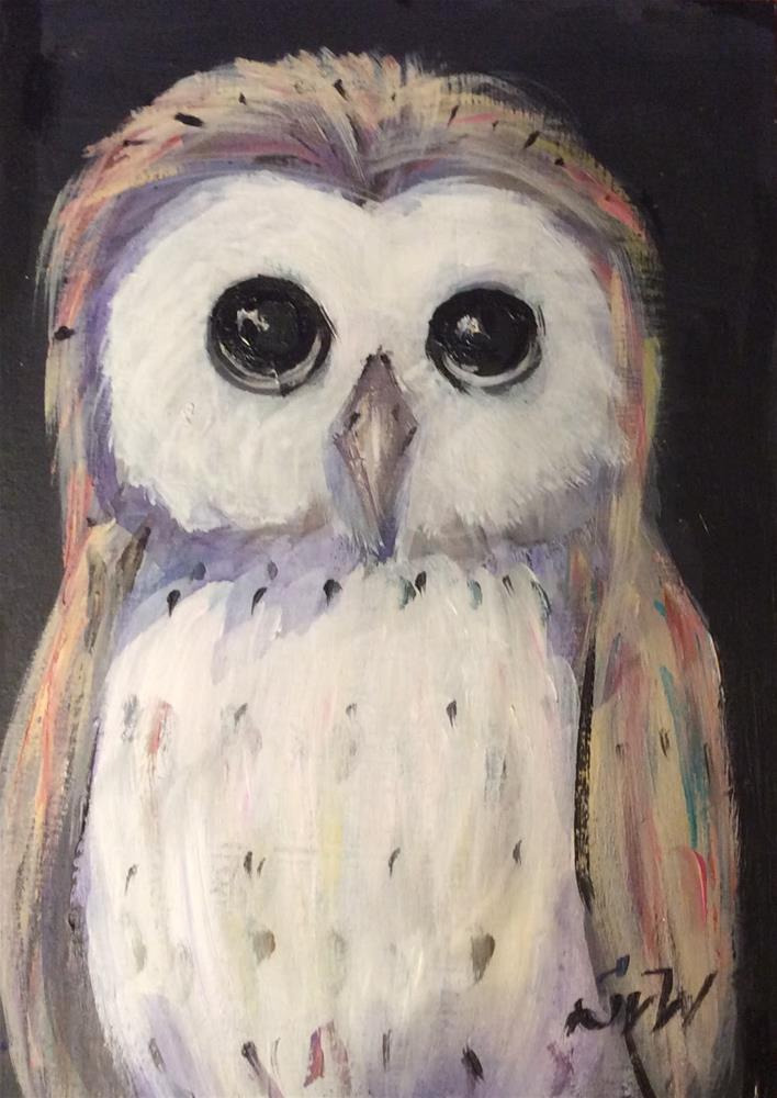 """Owl Painting"" original fine art by Sonia von Walter"