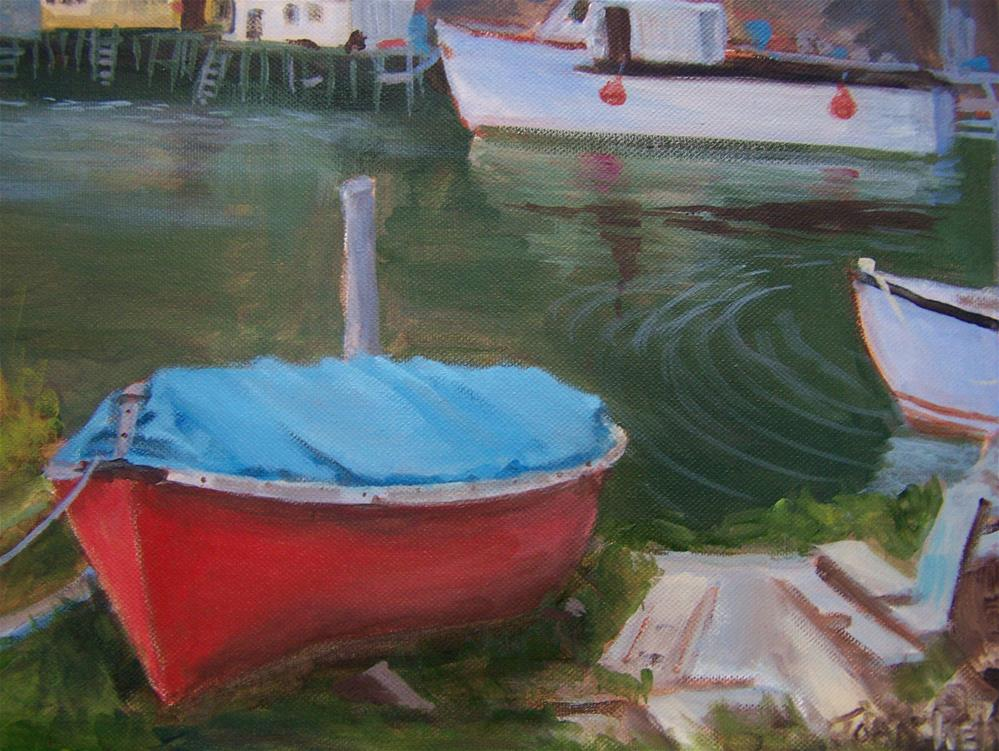 """Red Boat  St. Johns Nfld. Harbor"" original fine art by Joan Reive"