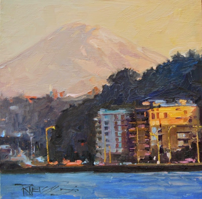 """Majesty Mt Rainier rising behind West Seattle, oil landscape painting by Robin Weiss"" original fine art by Robin Weiss"