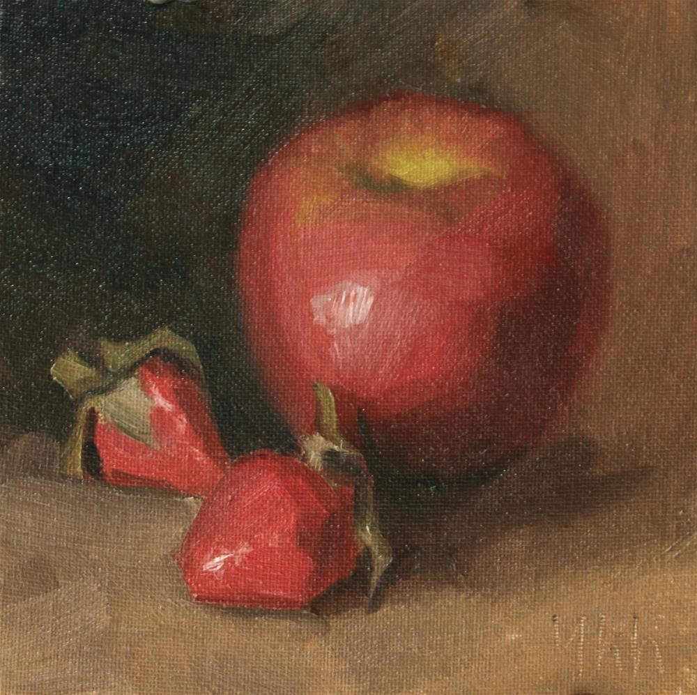"""apple"" original fine art by Yuehua He"