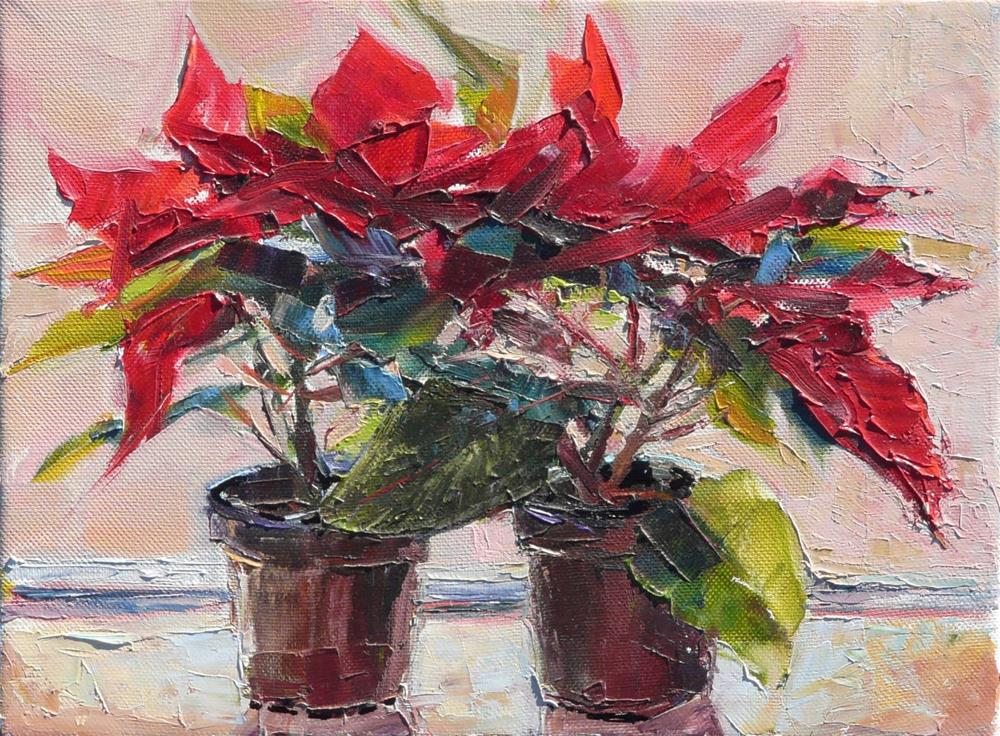 """Christmas Poinsettias,still life,oil on canvas,9x12,price$250"" original fine art by Joy Olney"