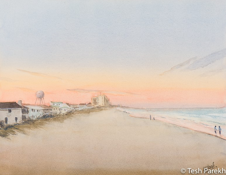 """Wrightsville Beach Evening"" original fine art by Tesh Parekh"