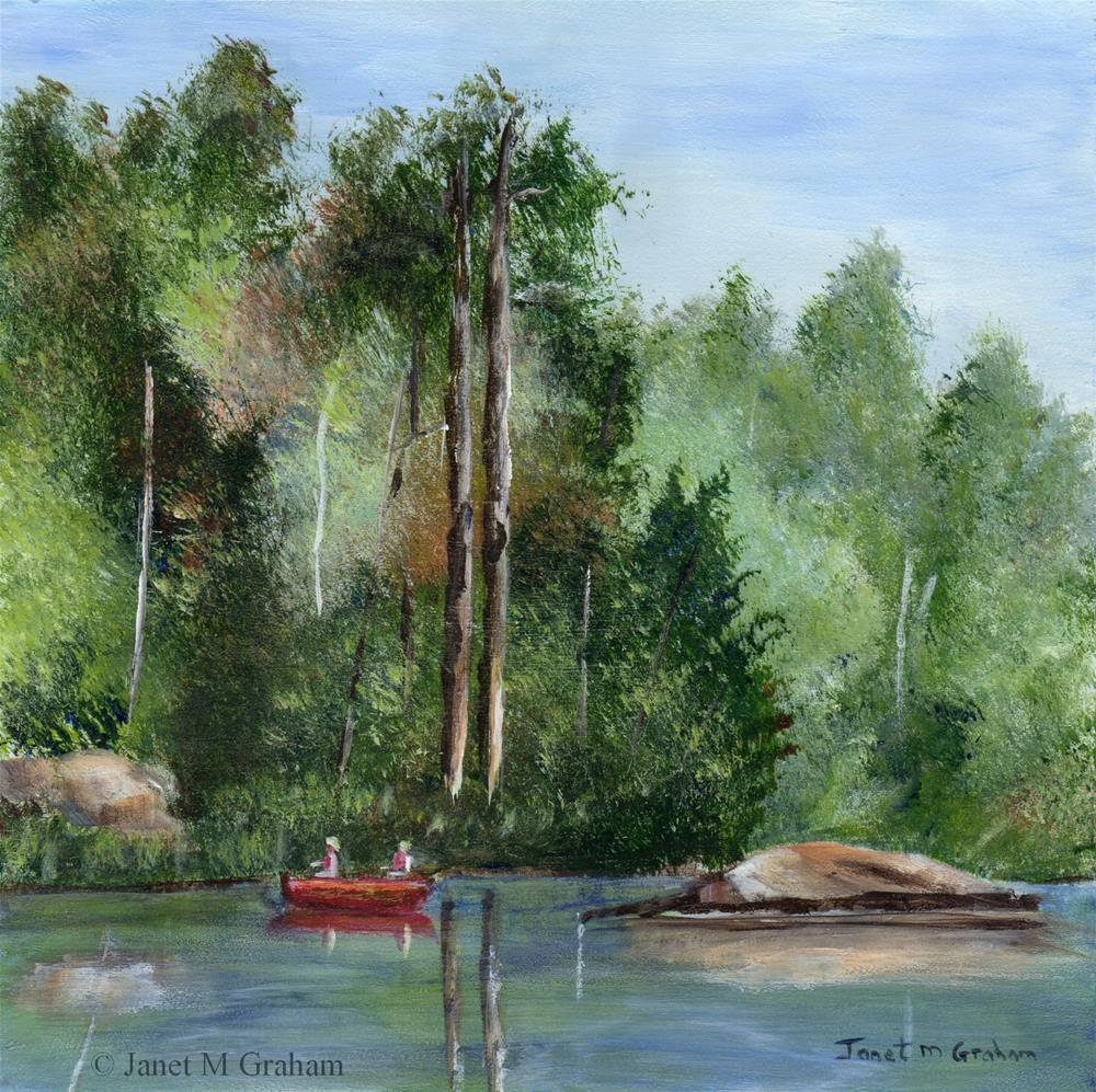 """Canoeing down the river"" original fine art by Janet Graham"