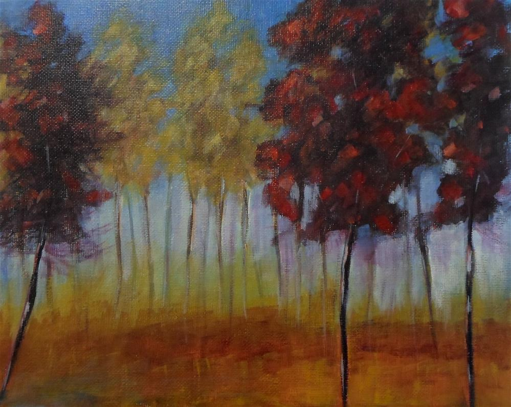 """8 x 10 inch acrylic Stand of Trees"" original fine art by Linda Yurgensen"