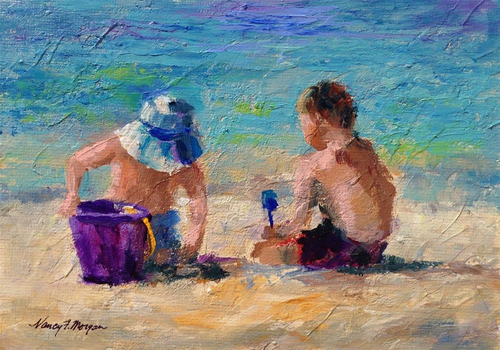 """Boys on the Beach"" original fine art by Nancy F. Morgan"
