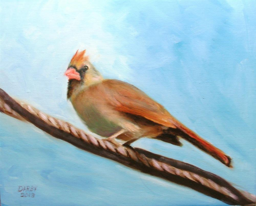 """Bird on a Wire"" original fine art by Lynn Darby"