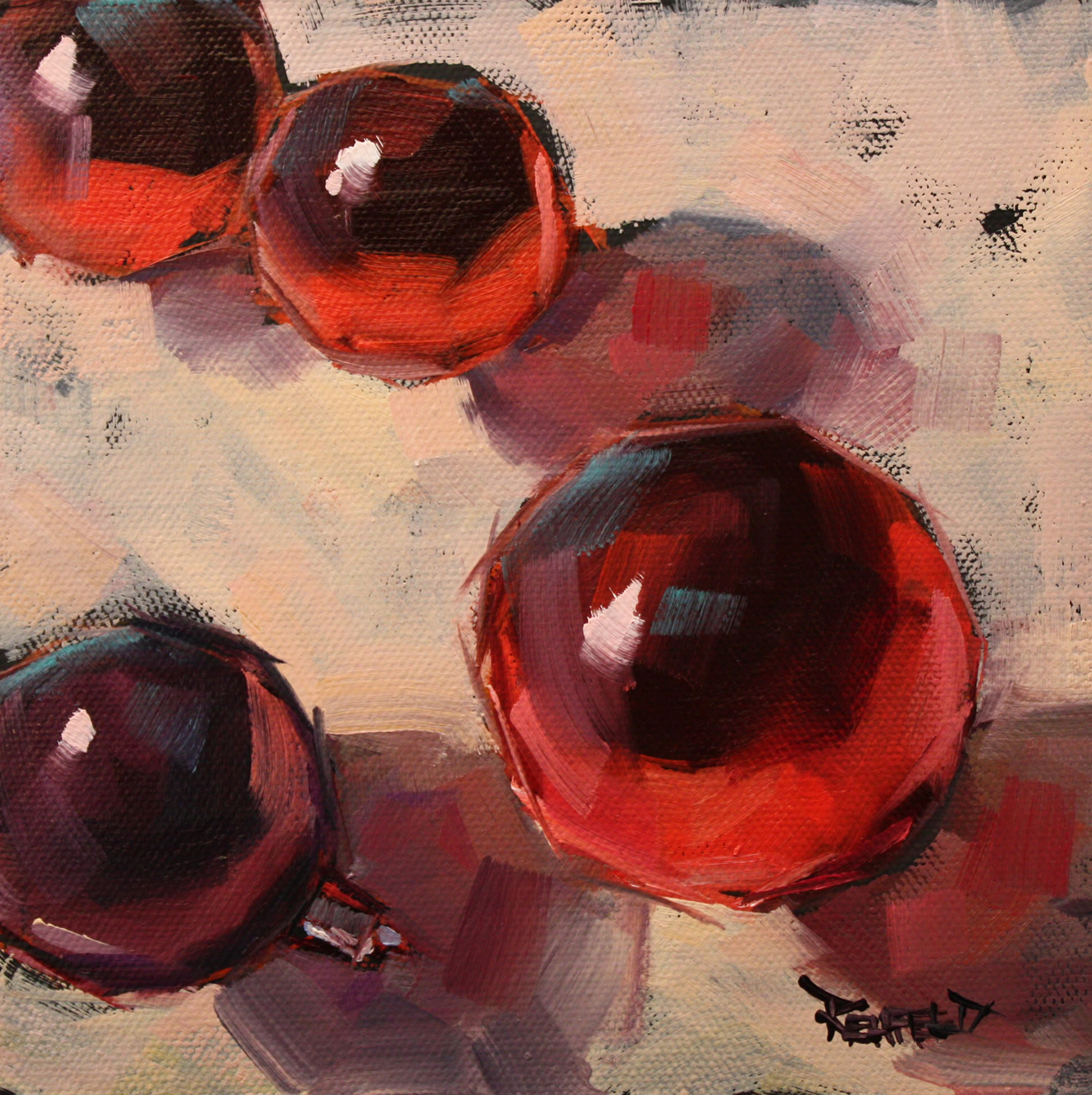 """Shiny Holiday Balls"" original fine art by Cathleen Rehfeld"