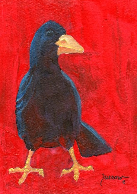 """ORIGINAL RAVEN PAINTING    The NOSE"" original fine art by Sue Furrow"