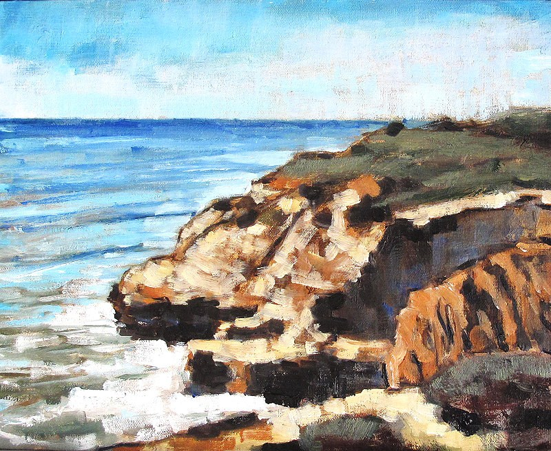 """San Diego Beach Cliffs"" original fine art by Kevin Inman"