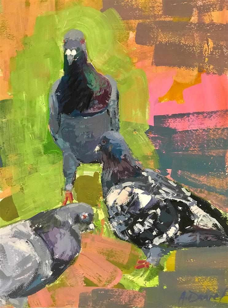 """Pigeons on Pink #3"" original fine art by Andrew Daniel"
