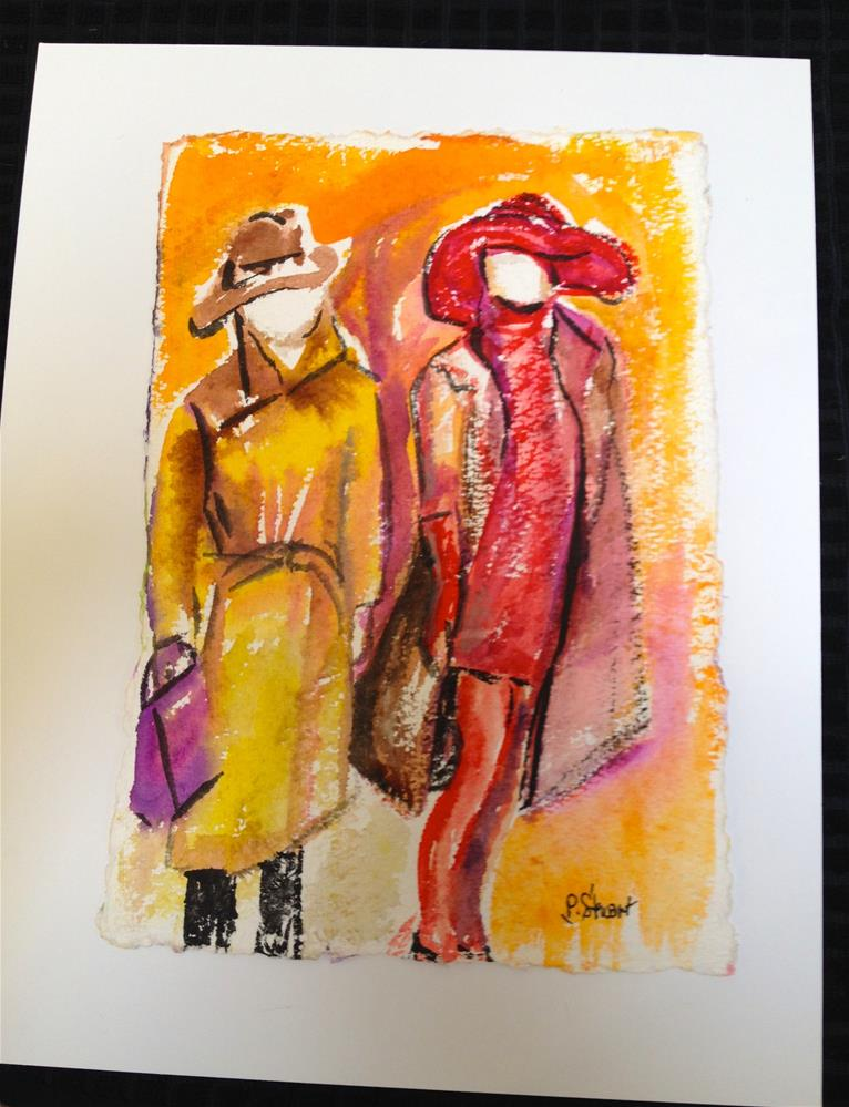 """11x14 Abstract Fashionistas Red Yellow Magenta Illustration Contemporary Penny StewArt"" original fine art by Penny Lee StewArt"