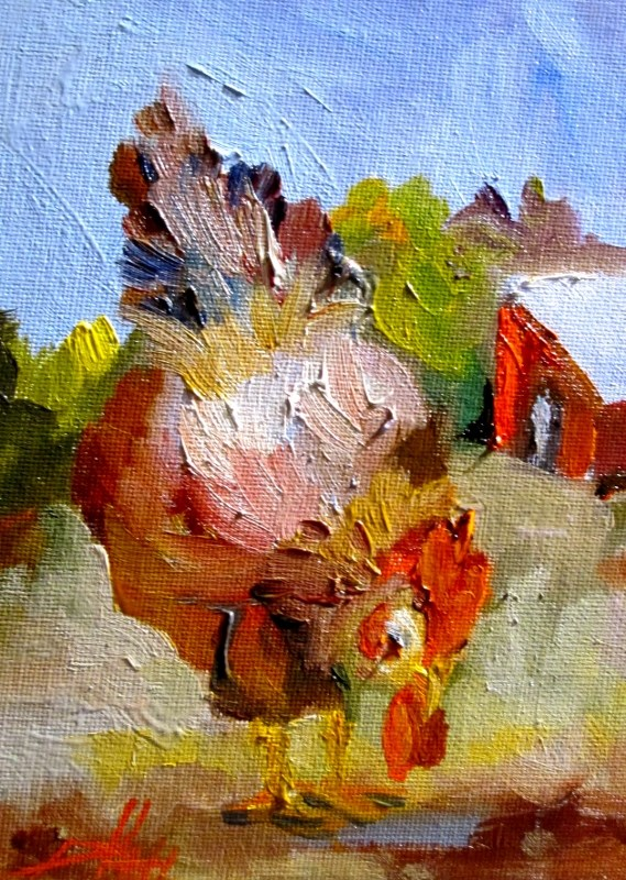 """Chicken Lunch"" original fine art by Delilah Smith"