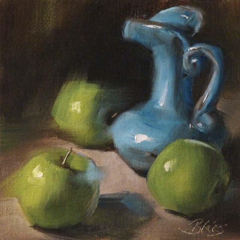 """Green Apples and a Blue Pitcher"" original fine art by Pamela Blaies"