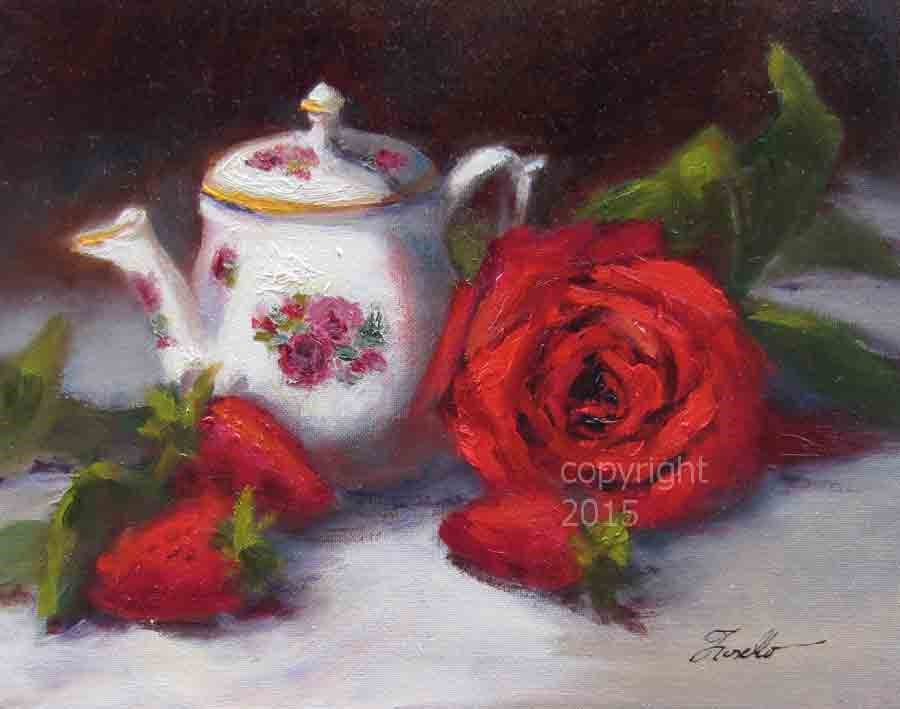 """Tea Time - Super Sunday Auction"" original fine art by Pat Fiorello"