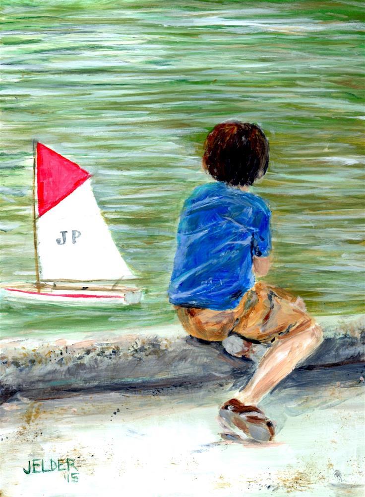 """""""Paris No. 74, Sailing at Luxembourg Gardens"""" original fine art by Judith Elder"""