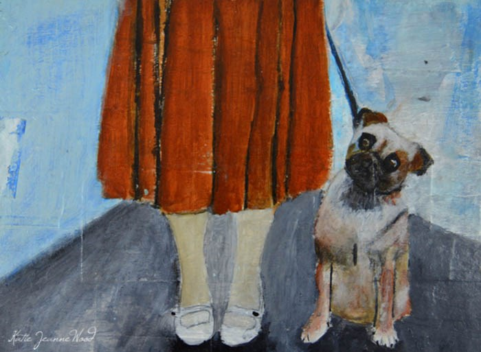 """Walk the Dog"" original fine art by Katie Jeanne Wood"