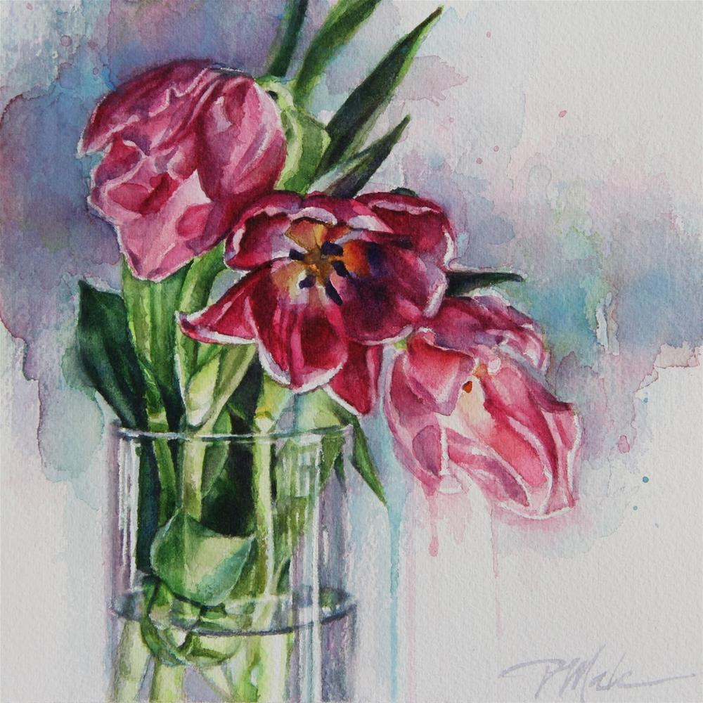 """Pink Tulips"" original fine art by Tracy Male"