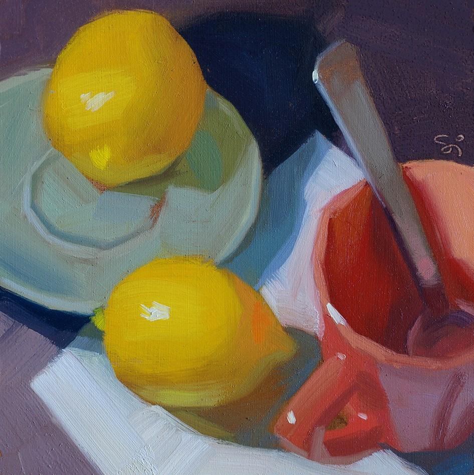 """""""Lemons and cup"""" original fine art by Istvan Schaller"""