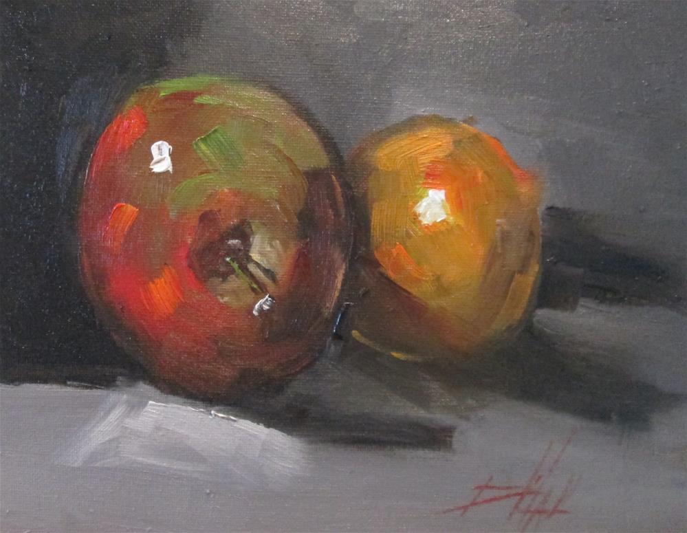 """Apple and Orange"" original fine art by Delilah Smith"