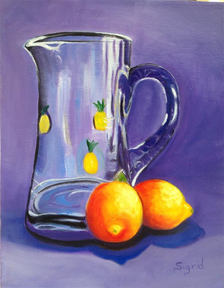 """Juicy Lemons and Pitcher"" original fine art by Sigrid Victor"