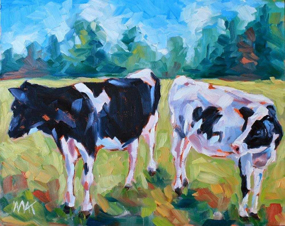 """Two Cows in Pasture"" original fine art by Mary Anne Cary"
