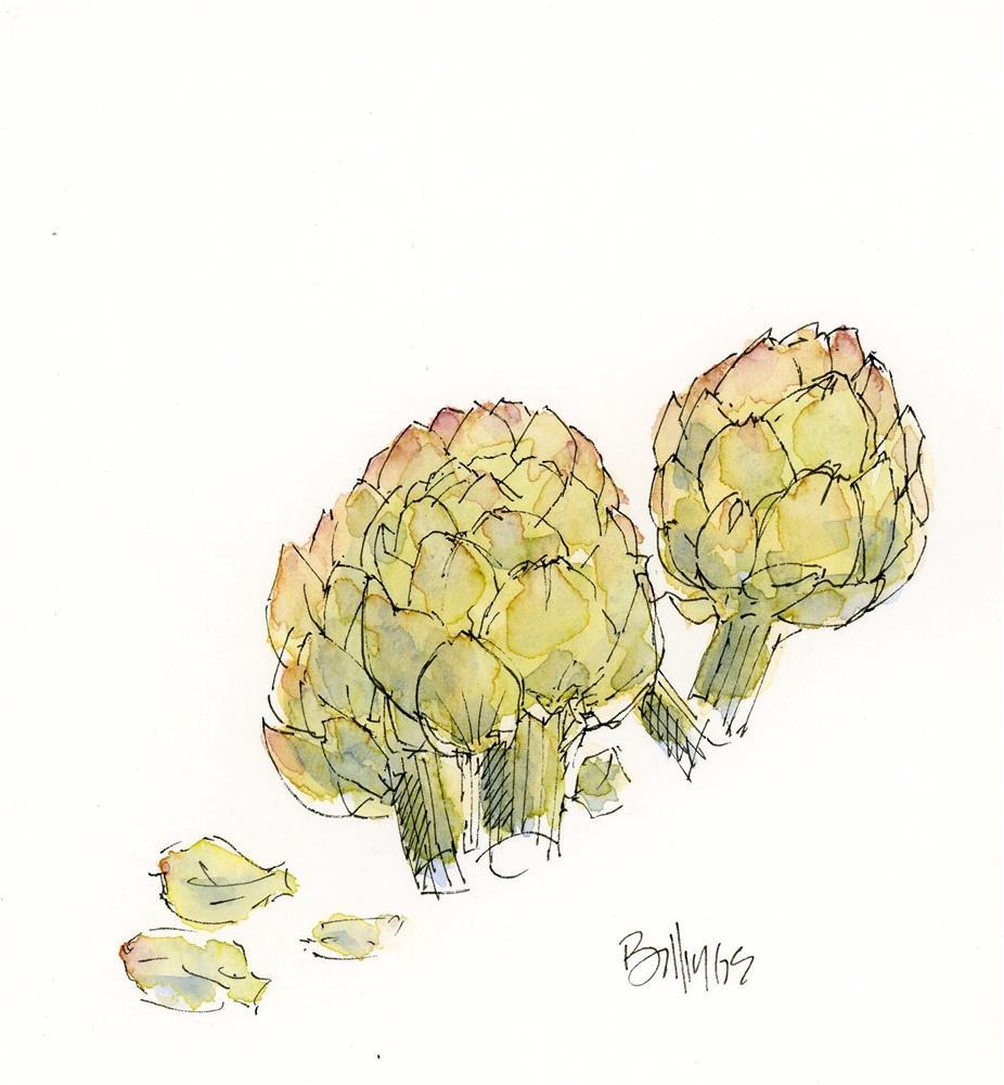 """""""artichoke sketch"""" original fine art by Susanne Billings"""