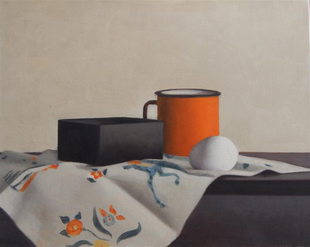 """Still Life with Orange Cup and Egg"" original fine art by Megan Schembre"