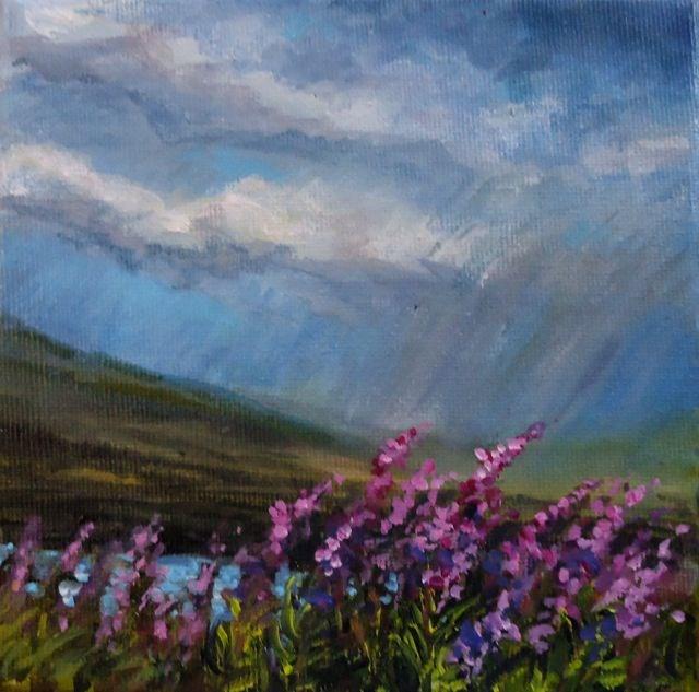 """Yukon Fireweed Series No. 3"" original fine art by Jackie Irvine"