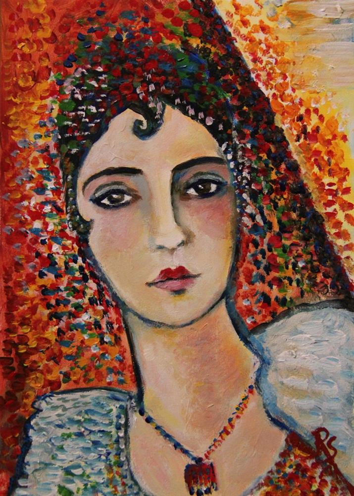 """Inspired by Picasso - Woman with Spanish Dress"" original fine art by Roberta Schmidt"
