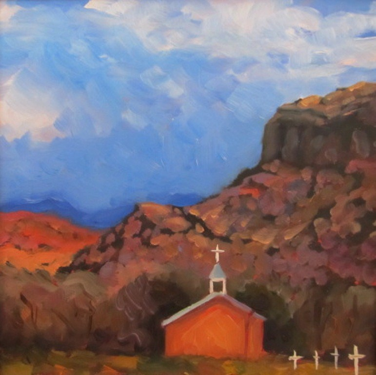 """SAN IDELPHONSO, WINTER"" original fine art by Dee Sanchez"