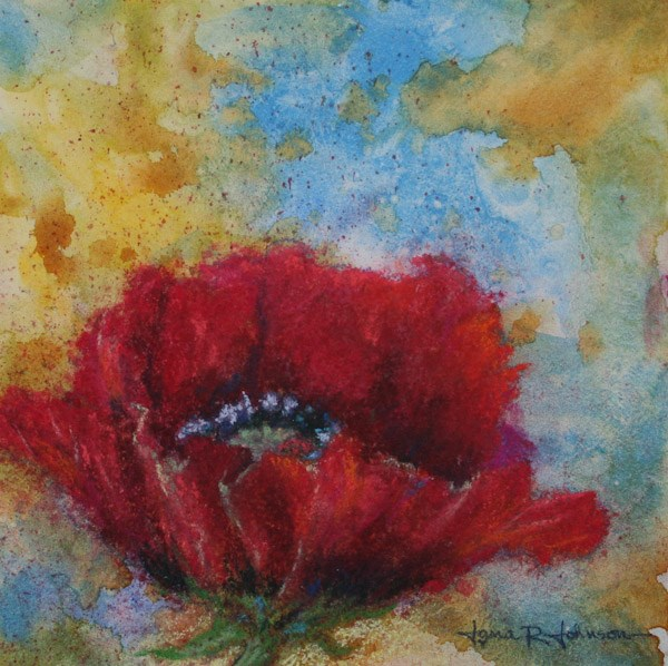 """Poppy on Blue and Yellow"" original fine art by Jana Johnson"