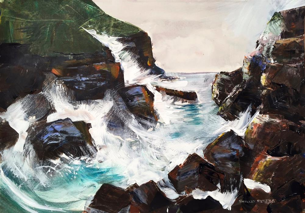 """""""Wild rocks at Stanley 60 x 42cm Acrylic on paper"""" original fine art by Shirley Peters"""