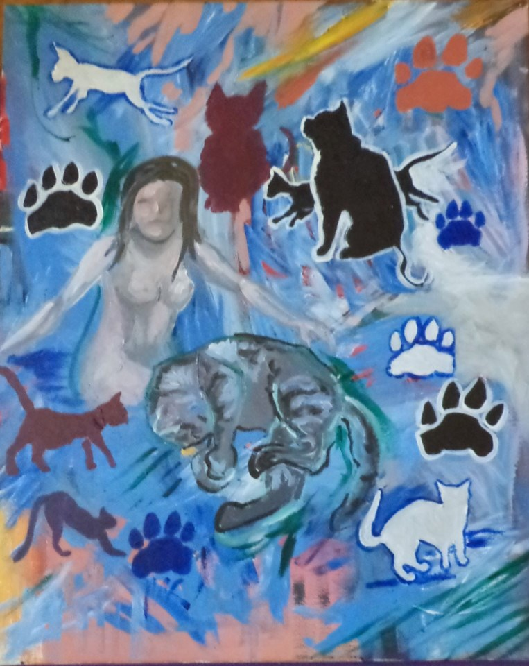 """Lady and her kitties"" original fine art by tara stephanos"