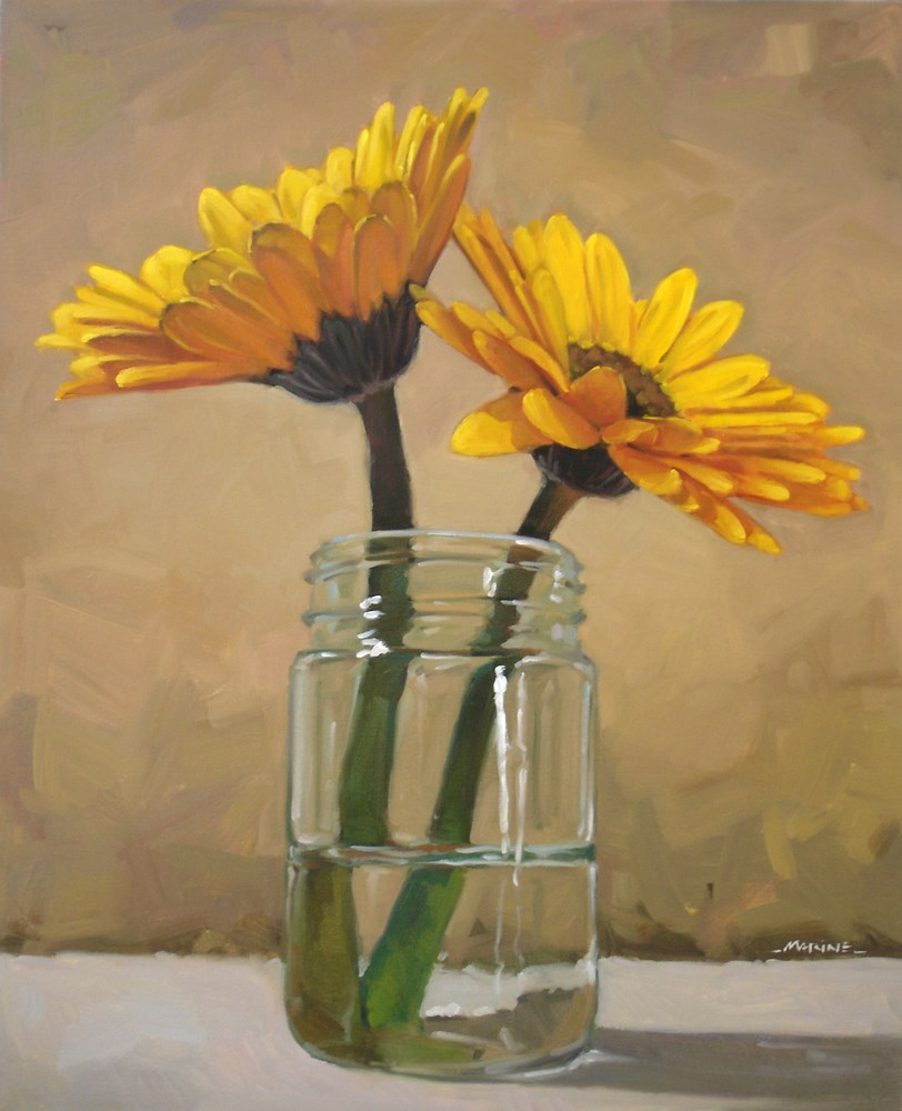 """2 Yellow Flowers"" original fine art by Carol Marine"