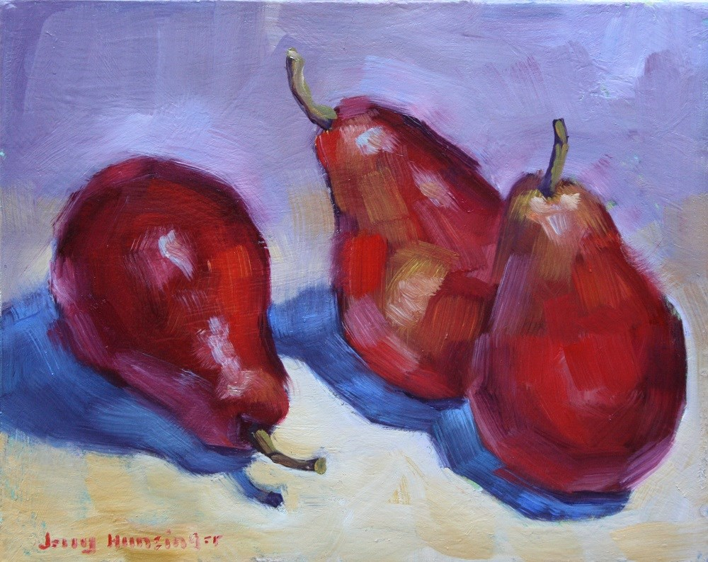 """Red Pears"" original fine art by jerry hunsinger"