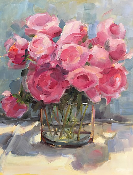 """Loads of Pink"" original fine art by Deborah Newman"