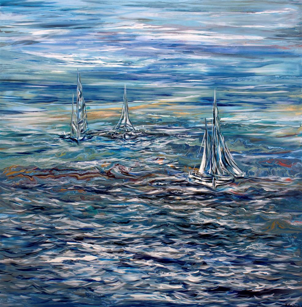 """Sailing in the Sea,original  seascape painting on canvas"" original fine art by Khrystyna Kozyuk"
