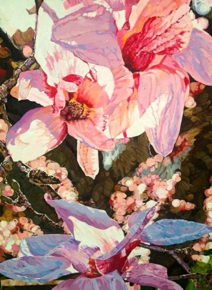 """Magnolias"" original fine art by Nancy Lasater"