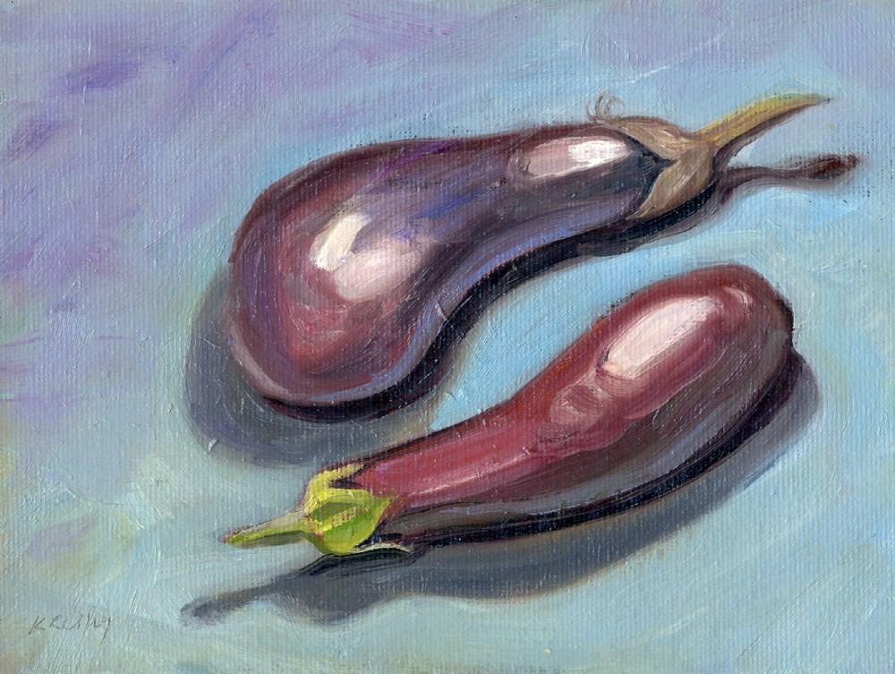 """""""Yin-Yang Eggplants"""" original fine art by Kath Reilly"""