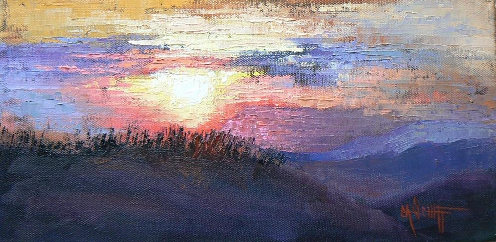 """Ridge Line 6x12 Palette Knife Painting"" original fine art by Carol Schiff"