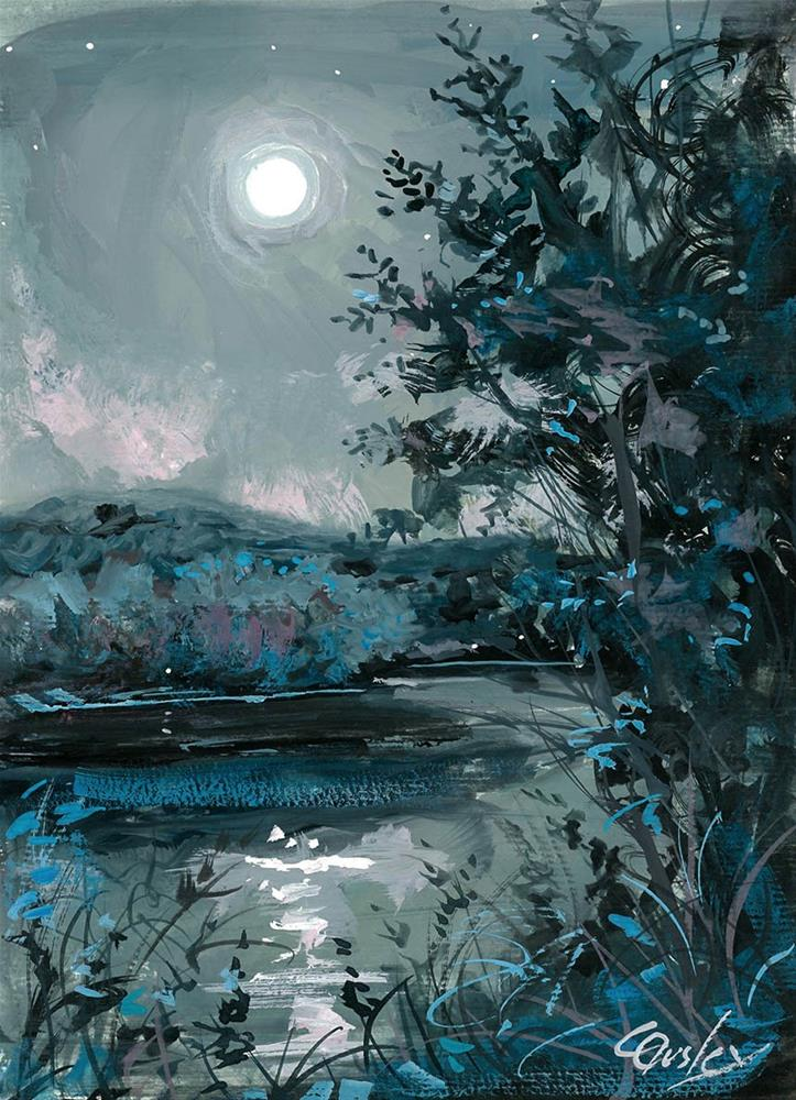 """Full Moon at Radnor Lake"" original fine art by Chris Ousley"