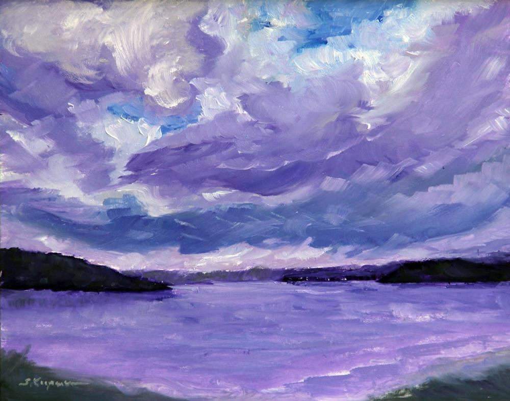 """Lakescape in Violet"" original fine art by Shelley Koopmann"