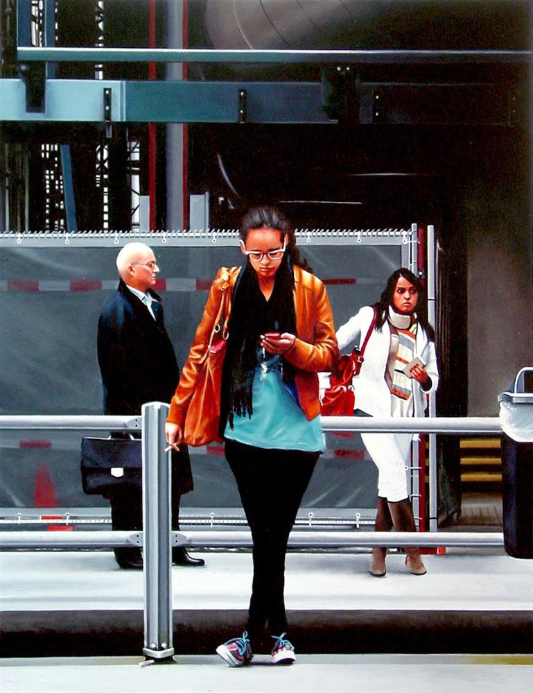 """The Hague Central- People Waiting For Tram"" original fine art by Gerard Boersma"