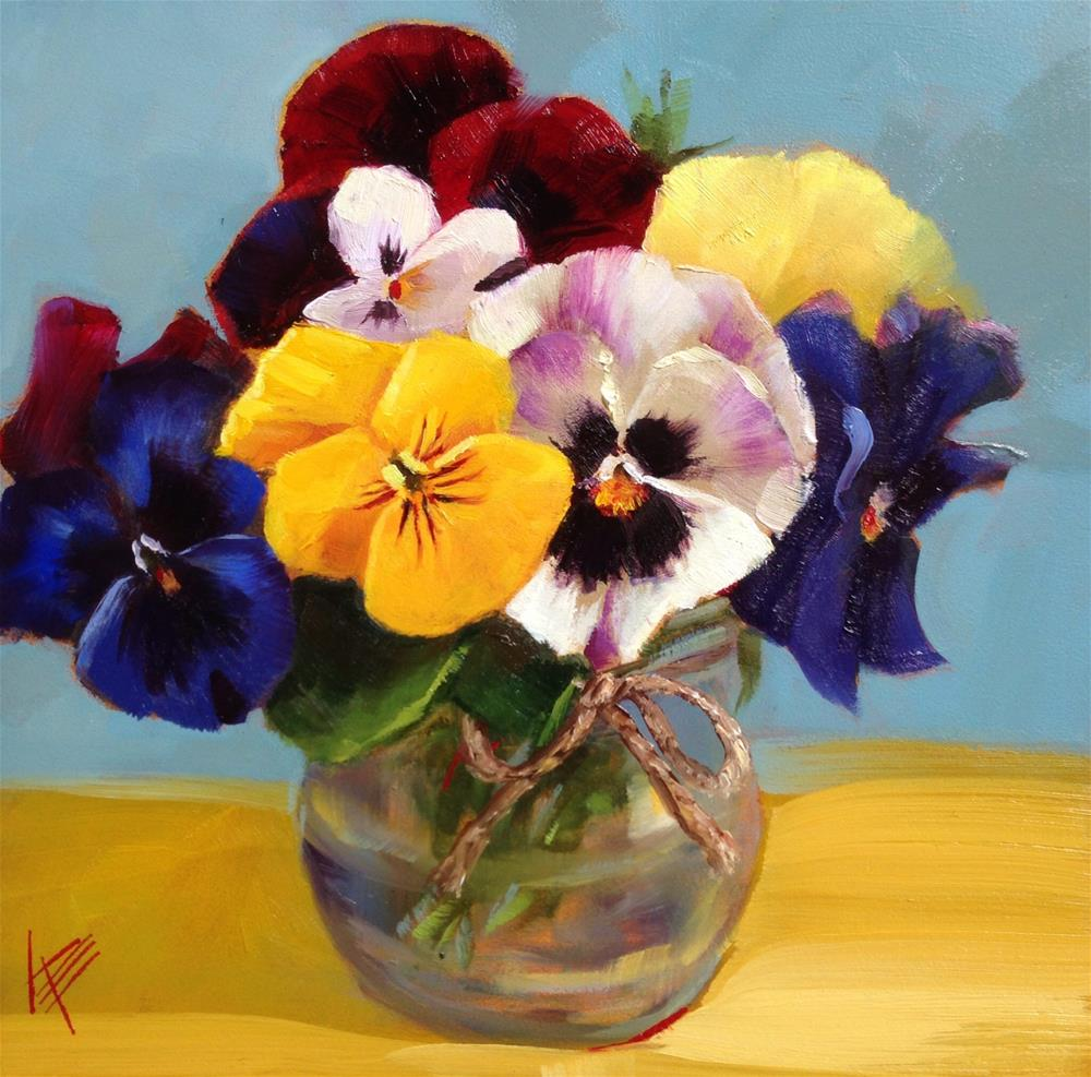 """Playful pansies"" original fine art by Krista Eaton"