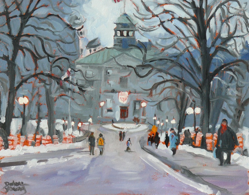 """585 McGill University Winter Scene"" original fine art by Darlene Young"