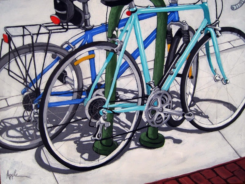 """BIKE DAY bicycle painting commission"" original fine art by Linda Apple"