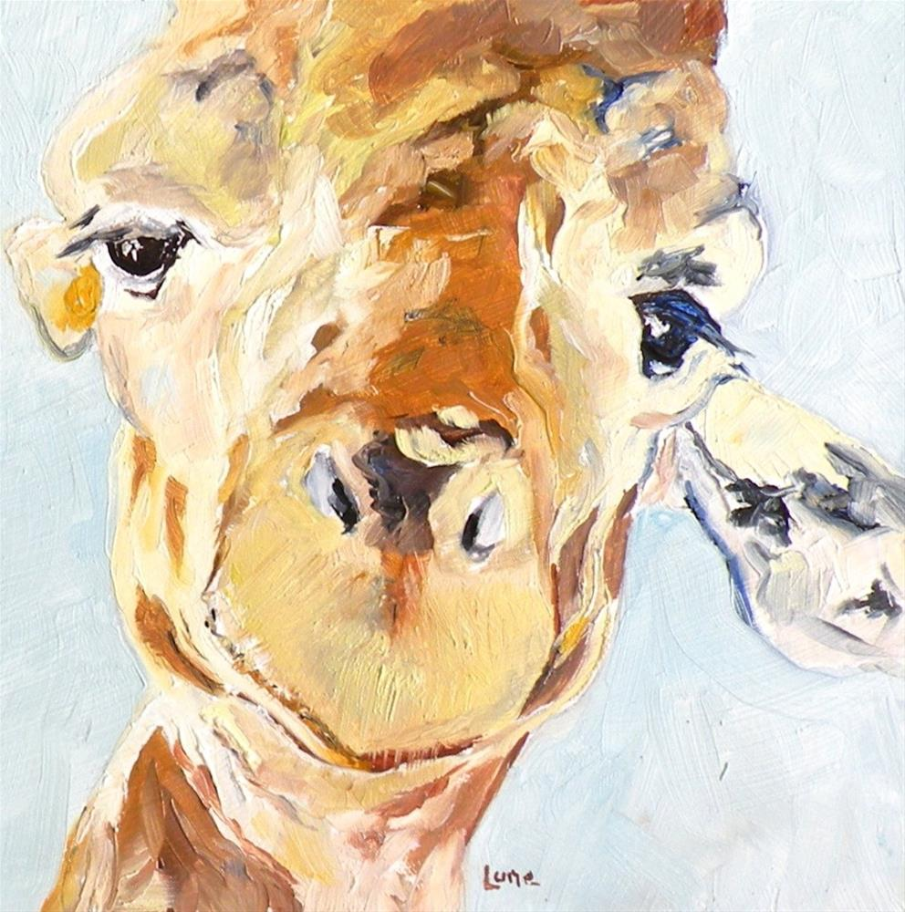 """G a GIRAFFE ORIGINAL OIL ON 4X4 PANEL © SAUNDRA LANE GALLOWAY"" original fine art by Saundra Lane Galloway"