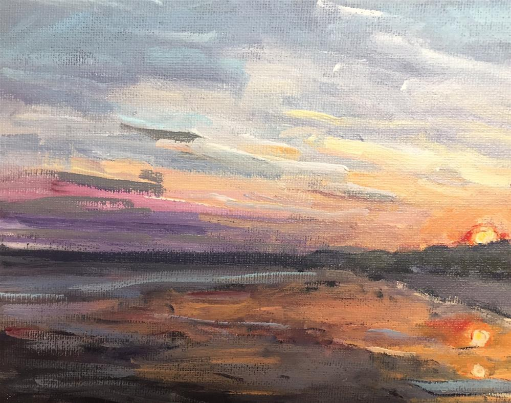 """Sunset at the Beach"" original fine art by Alina Vidulescu"
